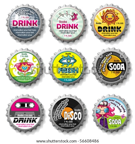Colorful bottle caps 9 - vector set - stock vector