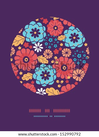 Colorful bouquet flowers circle decor pattern background
