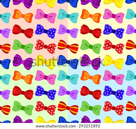 Colorful bow seamless pattern, 4 variations of color background, vector illustration - stock vector