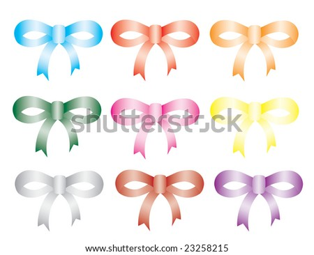 colorful bows set, vector illustration