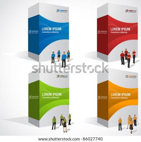 Colorful boxes with business people - stock vector
