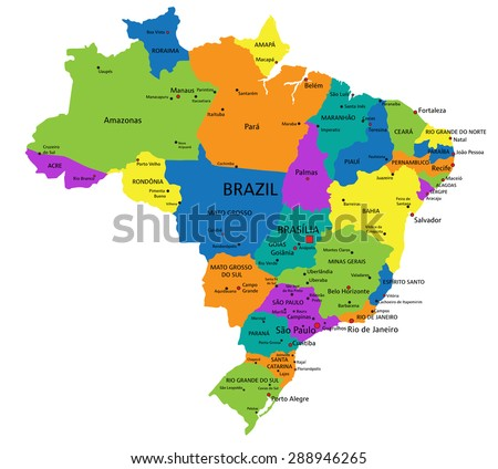 Colorful Brazil Political Map Clearly Labeled Stock Vector - Brazil map