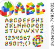 Colorful brick toys font with numbers. Vector illustration. - stock photo
