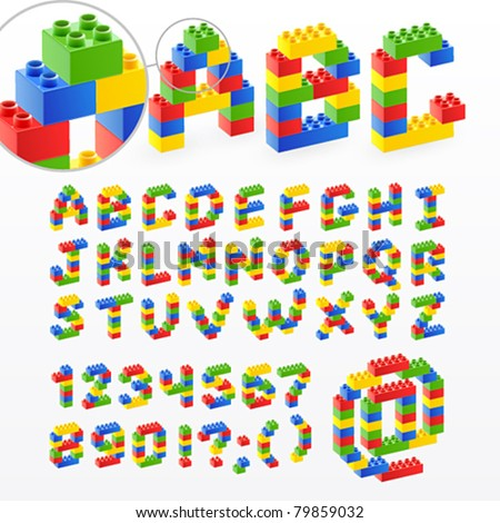 Colorful brick toys font with numbers. Vector illustration. - stock vector