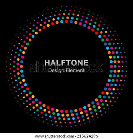 Colorful Bright Abstract Halftone Design Element on black background, vector logo illustration - stock vector