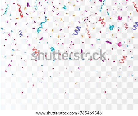 Colorful bright confetti isolated on transparent background. Festive vector illustration