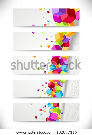 Colorful bright cubes fly - cards collection. Vector illustration - stock vector
