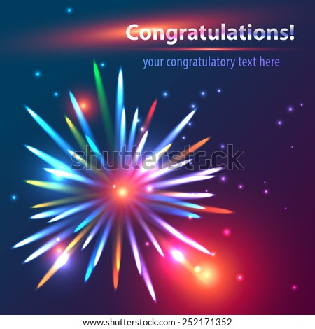 Colorful, bright fireworks scatters in the dark sky against a background of twinkling stars and glare. Fully editable vector. Ideal to use as an e-mail greeting cards. - stock vector