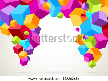 Colorful bright lightweight cubes. Vector illustration - stock vector