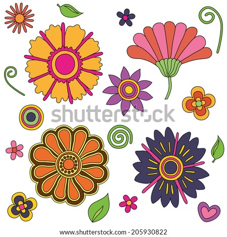 colorful bright psychedelic retro flowers set, good for textile and pattern, editable eps 10 vector - stock vector