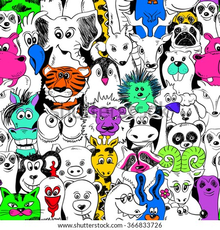Colorful bright psychedelic seamless pattern with funny animals. Abstract graphic background. - stock vector