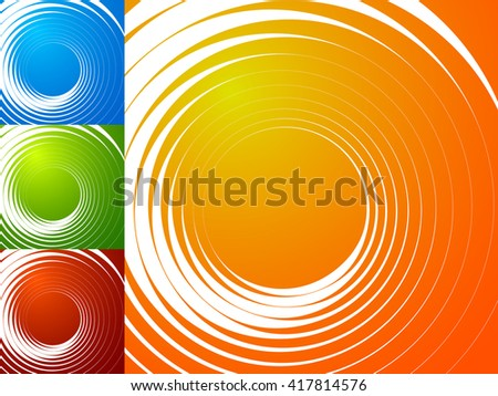 Colorful bright spirally background. Spiral, vortex background set with geometric elements. Background set in 4 bright, vivid colors. - stock vector