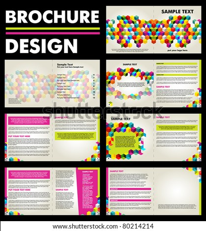 Colorful - Brochure - Design layout template with 14 pages front and back cover content text boxes - stock vector