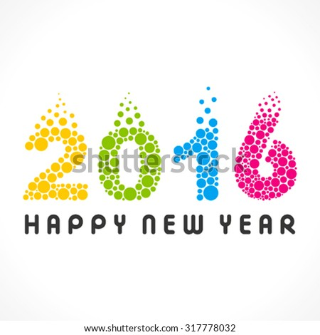 colorful bubble design new year 216 design vector - stock vector