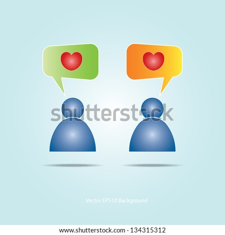 Colorful bubble for speech with heart background. Vector - stock vector