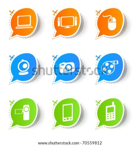 Colorful bubble icon sticker collection 2 - stock vector