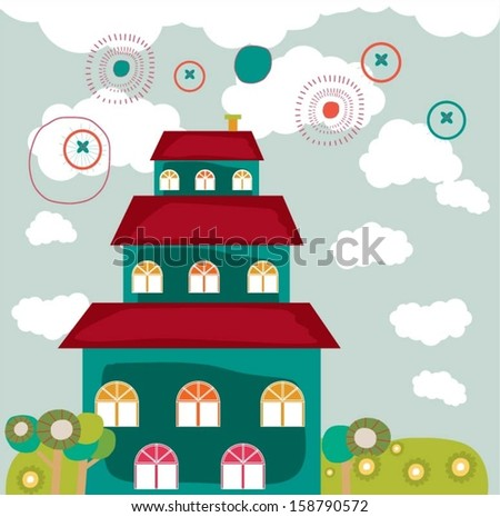 Colorful building design vector background.  - stock vector