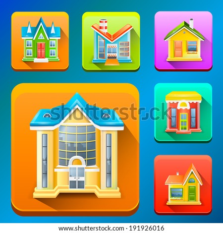 Colorful Building icons - stock vector