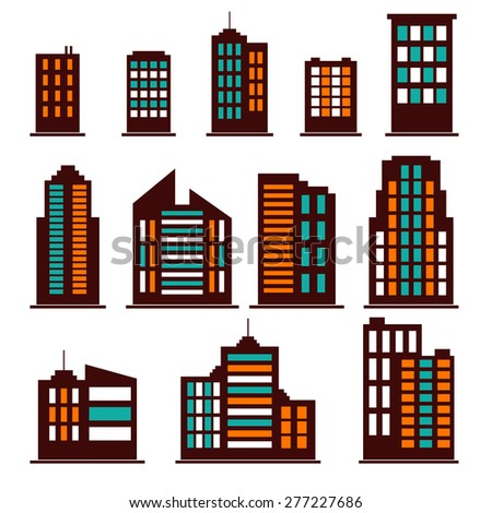 Colorful building icons set. Vector illustration - stock vector