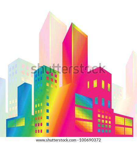 colorful buildings background vector - stock vector