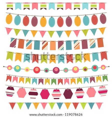 Colorful bunting and garland set - stock vector
