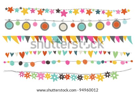 colorful buntings, garlands and paper chain for indoor or outdoor festivity, birthday or celebration - stock vector
