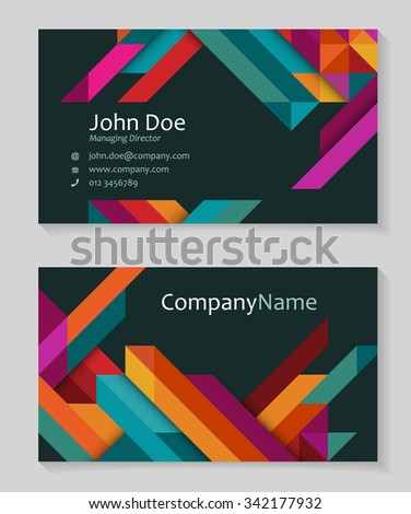 Colorful business card design, abstract triangles,eps10 vector - stock vector