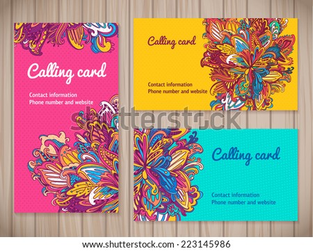 Colorful Business Cards template in different floral styles. vector floral business card set on wood background.  - stock vector