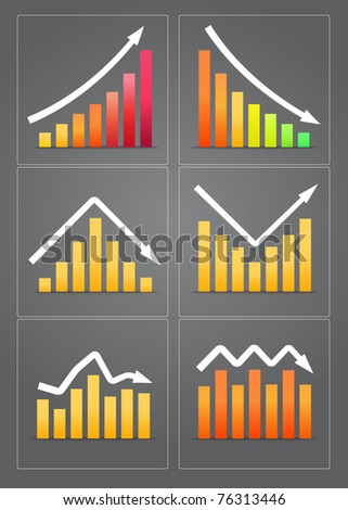 Colorful business revenue charts in frames on grey background - stock vector