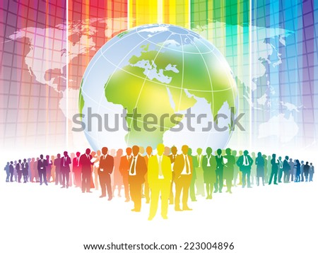 Colorful businesspeople are standing in front of large world map