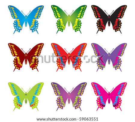 Colorful butterflies - stock vector