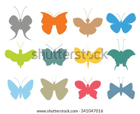 Colorful butterflies flat style vector collection. Vector butterfly set. Butterfly colorful different types. Butterfly  silhouette isolated on white background. Butterfly blue, butterfly colorful - stock vector