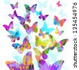 colorful butterflies flying - stock photo