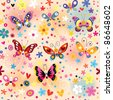 colorful butterflies pattern - stock vector
