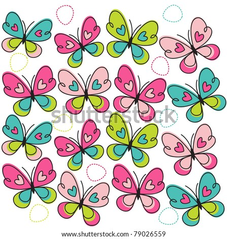Colorful butterflies seamless pattern - stock vector