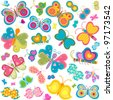 colorful butterflies set - stock vector