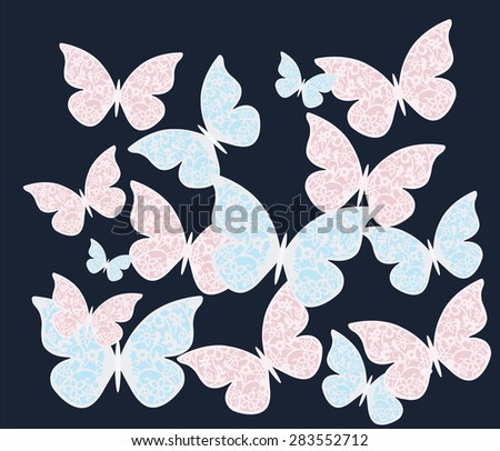 Colorful butterflies with ornament patterns on black background. Vector  - stock vector