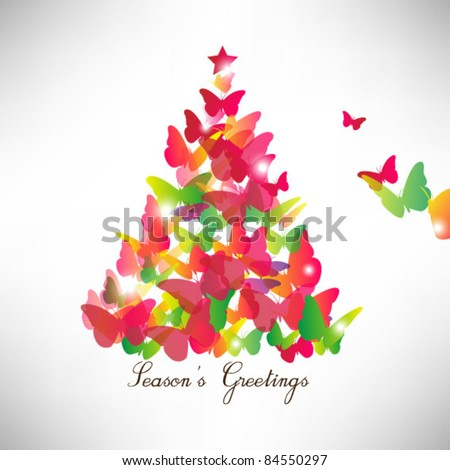 colorful butterfly christmas card - stock vector