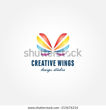 Colorful butterfly creative trendy symbol, badge, icon, logo template for successful business - stock vector