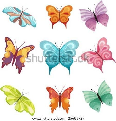 colorful butterfly set - stock vector