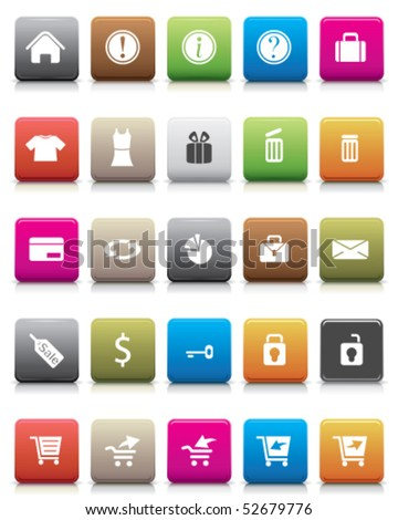 Colorful Button -- Online Shopping Icon Set - stock vector