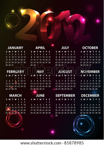 Colorful Calendar 2012 - stock vector