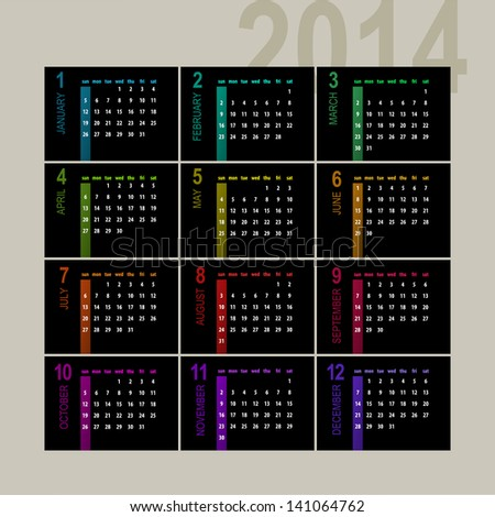 colorful 2014 calendar design on dark background - week starts with sunday - stock vector