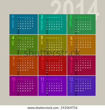 colorful 2014 calendar design on multicolor background - week starts with sunday - stock vector
