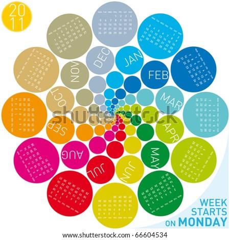colorful calendar for 2011. Circular design. Week starts on Monday - stock vector