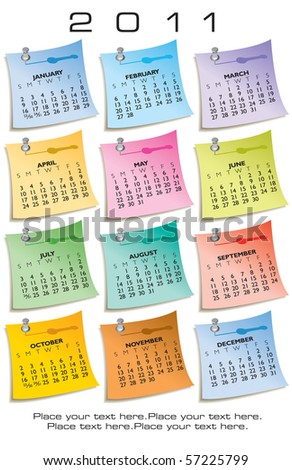 Colorful Calendar for 2011. Made of sticky notes. With Space for text - stock vector