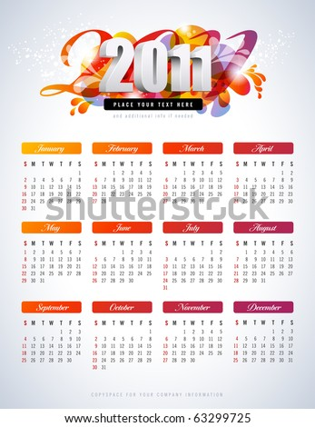 colorful calendar for 2011 - starts sunday - stock vector