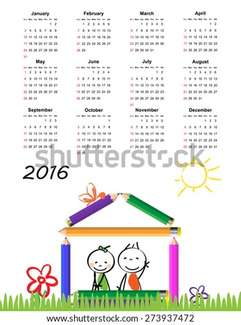 Colorful calendar for the new year 2016 - stock vector