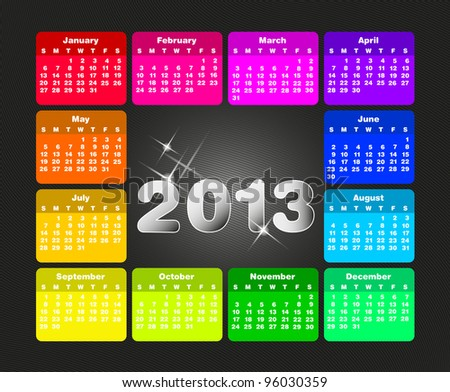 Colorful calendar for 2013. Week starts on sunday - stock vector