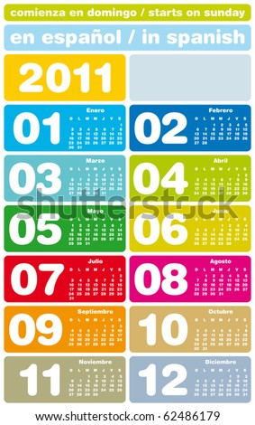 Colorful Calendar for Year 2011, in Spanish. Week starts on Sunday. - stock vector
